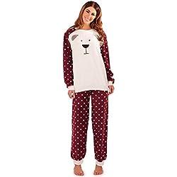Pinzhi–Sherpa Forro Polar frontal teddy pijama con lunares armas/pantalones y puños, color morado/crema Rojo Plum/Cream 50