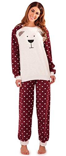 Mignon Ladies Sherpa Fleece avant Teddy Twosie / Pyjamas avec Spotted Bras / Pantalons et Poignets, Plum / Crème, X Small-X Large Plum / Crème