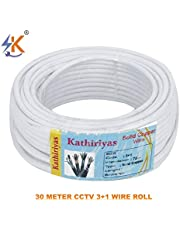 Kathiriya 3+1 Full Copper and Breding Alloy mic Complete Video Transfer HCI CCTV Wire Cable -30 m roll