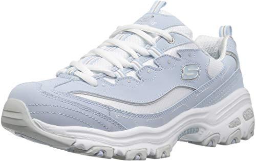Skechers Women's D'Lites Biggest Fan Low Top Sneaker Shoes Light Blue 10