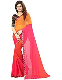 ARSH IMPEX Women's Pink Plain Georgette Mirror Lace Border Saree With Heavy Blouse Piece