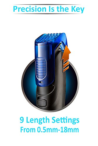 Nova NHT-1071 Dura Power Titanium Coated USB Trimmer for Men (Black/Blue)
