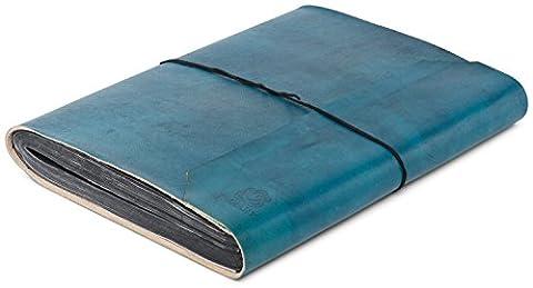 INDIARY - Fotoalbum aus echtem Büffel-Leder und handgeschöpftem Papier 34x26cm - schlicht und edel - (Leder Echtes Album)