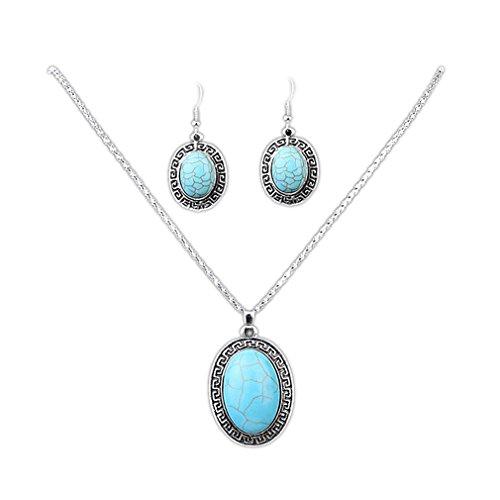 Yazilind Hohl Tibetischen Silber Grün Rimous ovale Türkis-Schellfisch -Kragen Ohrringe Halskette Schmuck-Set Frauen (Kugeln, Steine & Perlen)