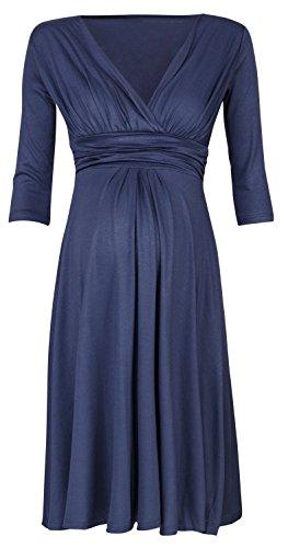 Zeta Ville - Damen Kleid Umstand Skaterkleid Schwangere - Ärmel 3/4 - 401c Blau Grau