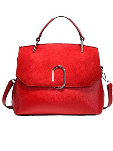 CHAOYANG-Female borsa a tracolla minimalista grande borsa della borsa opaco femminile di alta capacità borsa in pelle di vacchetta , black Red