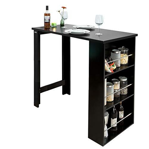 SoBuy Tavolo alto nero Bancone bar Penisola cucina L112*P57*A106 FWT17 SCH