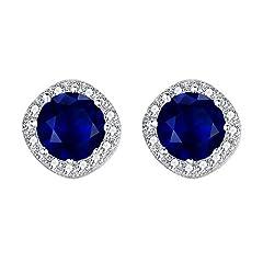 Idea Regalo - EVER FAITH® Argento 925 zirconi elegante cuscino Cut Halo Orecchini zaffiro blu di colore