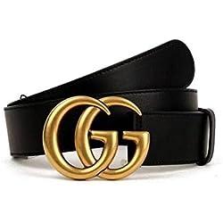 """Original authentische Mode Boutique Doppel G Gold Schnalle Männer und Frauen Gürtel (W 1-34"""" 105cm, Schwarze Goldschnalle)"""