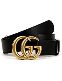 Original authentique mode boutique double GG or boucle hommes et femmes ceinture