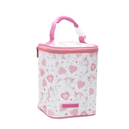 Leggende dell' antichità borsa termica porta alimenti cibo pranzo biberon offerta colore rosa, blu, grigio 2litri (rosa set con cuori) 21 * 15 * 15 cm rosa unicorno con cuori