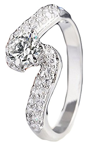 SaySure - Silver Gold Plated Zircon Crystal Wedding Rings (SIZE : 7)