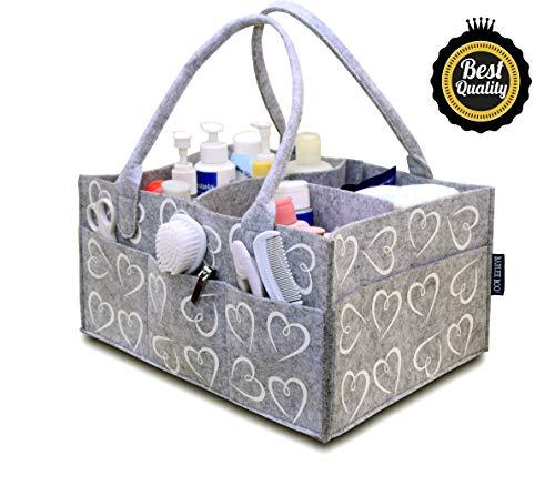 Bablee Boo! Windelablage, Baby-Organizer, Geschenk für Neugeborene - Registry Must Haves, extra lange Griffe, weiße Herzen, groß, 35,6 x 25,4 x 17,8 cm