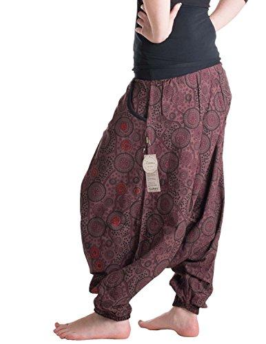 Vishes �?Alternative Bekleidung �?Haremshose warm mit tiefem Schritt und Taschen �?bedruckt und bestickt Marone