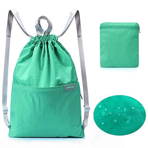 AOHAN Turnbeutel Wasserdicht Rucksack Kordelzugbeutel Faltbare Tasche Reisetasche Trainingsbeutel Schulrucksack Lässige Handtasche für Männer Frauen