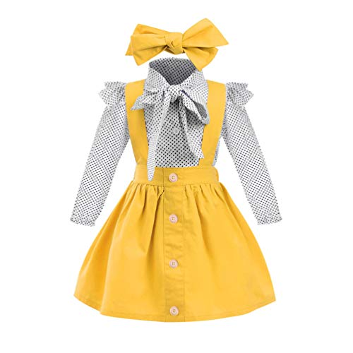 Baby T-Shirt Strap Kleid Weihnachten Outfits 2 Teile/Satz Kleinkind Mädchen Langarm Rüschen Top Overall Plaid Rock Kleidung Set (3-4 Jahre) (2-3 Jahre, Lang-Gelb)