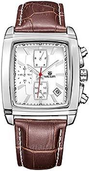 ساعة ميجير للرجال كوارتز ، كرونوغراف عرض و سوار من الجلد - 2028G
