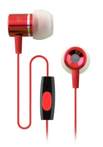 Coby in-Ear-Kopfhörer mit Mikrofon rot Coby-in-ear-headset