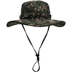 Outfly Hombre Sombrero de Verano Camuflaje Anti UV Gorro de Sol con ala Ancha con Cordón para Verano para Pesca Senderismo Sport Hat - Verde Camuflaje - XL