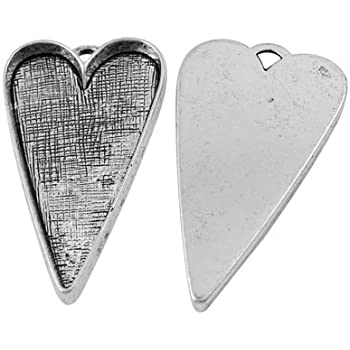 Shimmering Silver Pendant Blanks Cameo Bezel Cabochon Settings 11mmx9mm HooAMI 10pcs Heart Pendant Metal Trays