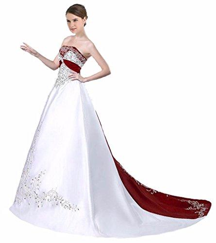 Edaier Frauen Perlen Stickerei Gericht Zug Satin Brautkleid Größe 36 Weiß Rouge