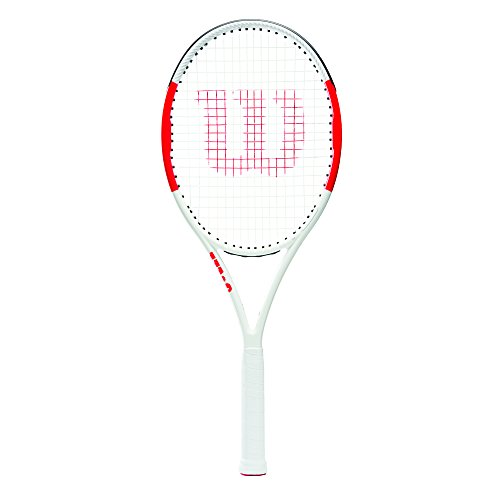 Wilson Raqueta de Tenis, Six.One Lite 102, Unisex, Jugadores intermedios, Rojo/Gris, Tamaño de empuñadura L2