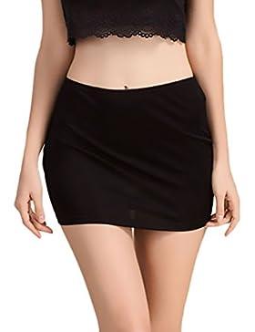 Faldas Mujer Enaguas Cortas Lencería Plain Cintura Antideslizante Color Solido Minifaldas Enagua