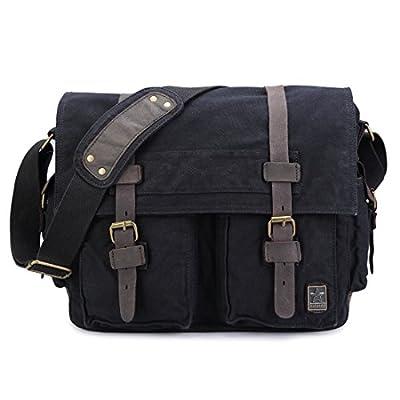 Sulandy@ Grand sac à bandoulière finition besace en cuir d'école militaire, neuf, style vintage en toile, unisexe