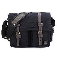 sulandy@ New Style Vintage Canvas Large Unisex Messenger Shoulder Bag Leather Trim School Military Shoulder Bag Messenger Bag (black(medium))