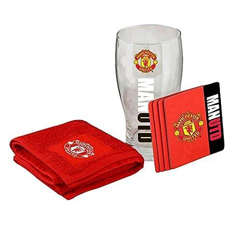 Offizieller Fußball Club Mini Bar Pack Set 43Pint 4MATS Bar Handtuch New Gr. Einheitsgröße, Manchester United
