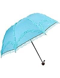 Kentop Paraguas Paraguas Plegable Cortavientos Paraguas Plegable Paraguas Viaje Hombre Mujer Mini Paraguas de Encaje de