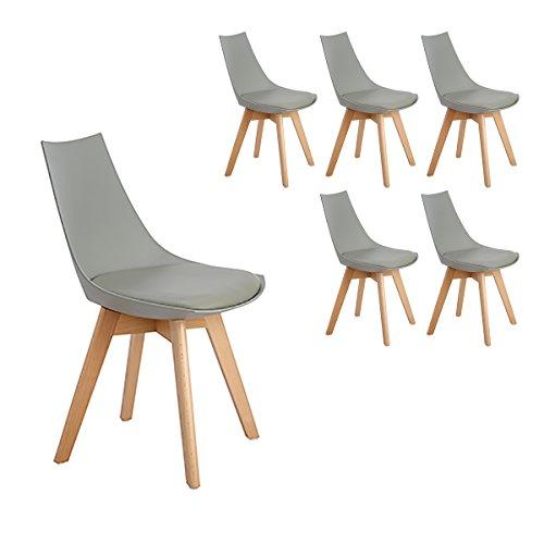 H.J WeDoo Pack 6 Tower sedie da Pranzo in Legno faggio, Tulip Sedie Design Stile scandinave Nordico con Cuscini in Finta Pelle - Grigio