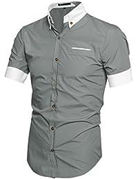 sourcingmap® Homme Couleur Contrastée Manches Courtes Bouton Bas Chemise
