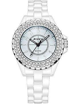 Damen Jugendliche Mädchen Weiß Keramik Wasserdicht Designer Uhren Frauen Mode Elegant Geschäft Analog Quarz Armbanduhr...