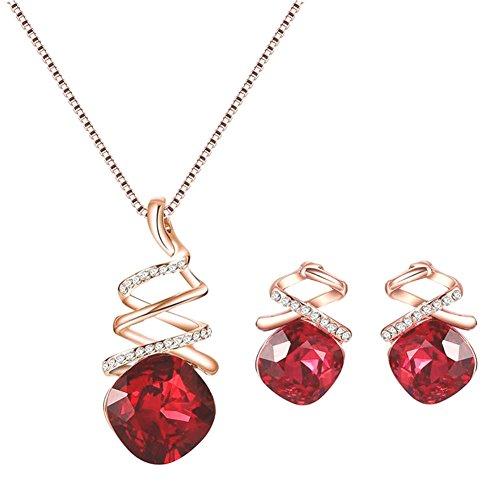 Gespout Crystal Collier Boucles d'oreilles Elégante Femme Bijoux Collier et Boucles d'oreilles (Rouge-1)