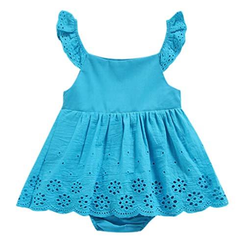 Bestow Vestido de Encaje de Color sólido sin Mangas Vestido de Mameluco Ropa(Azul,18-24M)