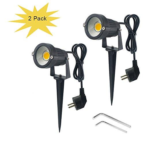 Wefond 2 Paket Outdoor Landschaft Beleuchtung 5 Watt COB Led-strahler für Garten Rasen Yard Pfad mit Spiked Ständer und Stecker Adapter (Warmweiß)