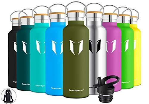 Super Sparrow Trinkflasche Edelstahl Wasserflasche - 500ml - Isolier Flasche mit Perfekte Thermosflasche für Das Laufen, Fitness, Yoga, Im Freien und Camping | Frei von BPA -