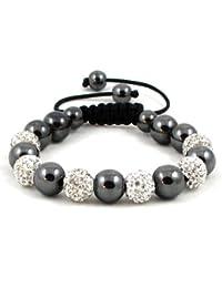 06-Ball White Bead Shamballa Bracelet with Hematites & no strings