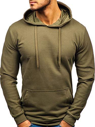 BOLF Herren Kapuzenpullover Hoodie Sweatshirt Basic Sport Style 5361 Khaki M [1A1]