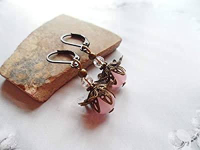 Stunning filigree earrings with pink glass pearls and Swarovski crystals, antique style brass, Selma Dreams jewelry gift