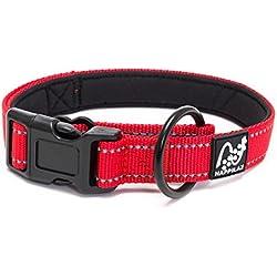 Collar para perro pequeño y cachorro, acolchado con neopreno, ajustable y reflectante con tracción compensada de Happilax