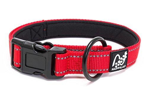 Happilax Collar perro grande acolchado, antitirones, ajustable y reflectante, rojo