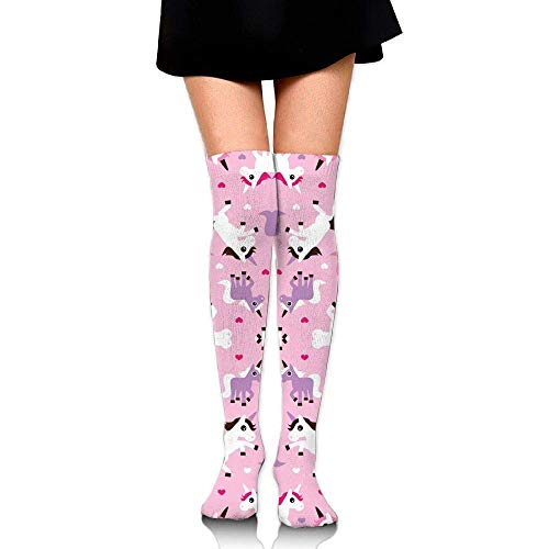 Tiger Girls Pink Kostüm - ncnhdnh Pink Unicorn Horse Love Pink Girls Training Socks Crew Athletic Socks Long Sport Soccer Socks Soft Knee High Sock Compression Socks for Men Women
