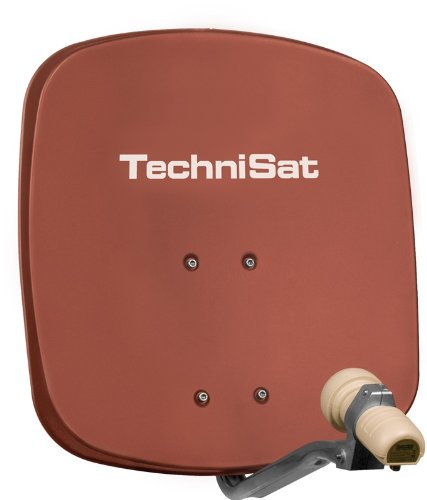TechniSat DIGIDISH 45 - Satelliten-Schüssel, 45 cm Spiegel mit Wandhalterung und Universal V/H Single-LNB (Ein Teilnehmer) rot