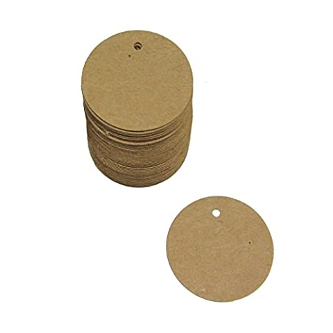 Pack 100 Shabby Chic 40mm Small Round Blank Brown Kraft Paper Tags / Cards for (4 Round Etichette)
