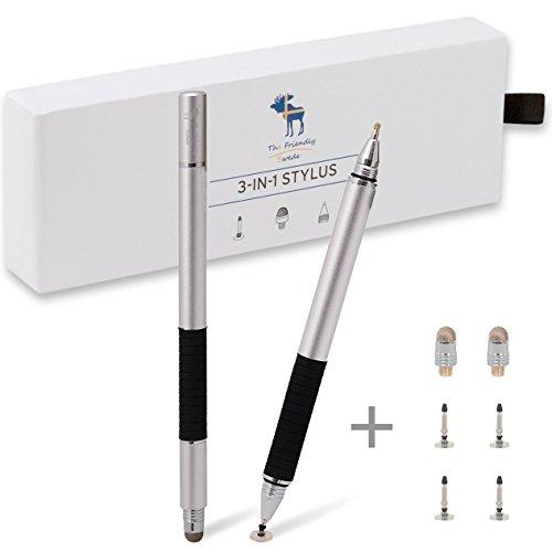 The Friendly Swede Penna Multifunzione 3-in-1: Penna Touch + Penna con Disco di Precisione + Penna a Sfera (Astuccio con 2 Penne) - GARANZIA A