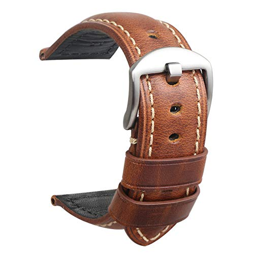Cinturino orologio da uomo in pelle panerai vintage fibbia argentato acciaio per tutti tipi di orologio classico sportivo accessori 22mm marrone
