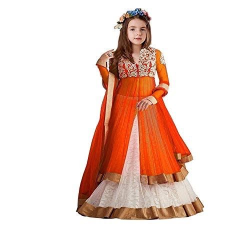 Salwar Style Kid's Net Embroidered Semi-Stitched Lehenga Choli (SS_0711) (8-14 Yrs)