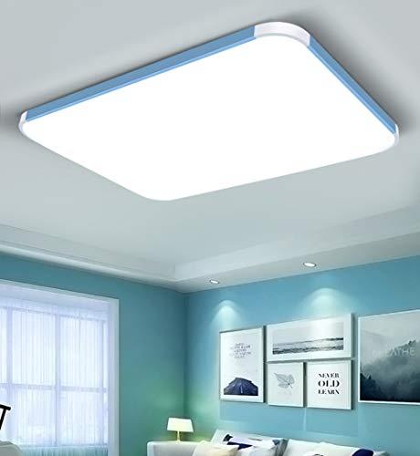 XUE LED-Deckenleuchte, Flush Mount Deckenleuchte mit Fernbedienung dimmbare Farbwechsel 72 / 96W 3000K-6500K Lumen-Platz-Panel Licht Leuchte für Wohnzimmer Schlafzimmer,Blau,32.3in -